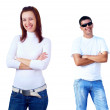 Beautiful smiling young couple standing, white background — Stock Photo