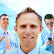 Group of happiness businessmans on the white background — Stock Photo
