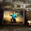Stock Photo: Abstract image of football player on the grunge background