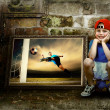 Abstract image of football player on the grunge background — Stock Photo