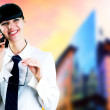 Hapiness Businesswoman standing on the business background — Stock Photo #6370503