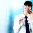 Hapiness Businesswoman standing on the business background — Stock Photo #6370510
