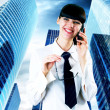 Hapiness Businesswoman standing on the business background — Stock Photo #6370514