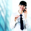 Hapiness Businesswoman standing on the business background — Stock Photo #6370517