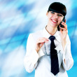 Hapiness Businesswoman standing on the business background — Stock Photo #6370519