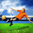 Stock Photo: Happiness football player after goal on the field of stadium und