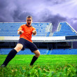 Happiness football player after goal on the field of stadium und — Stock Photo #6370907