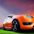 Beautiful orange sport car on road — Stock Photo #6371188