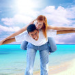 Stock Photo: Beautiful couple on the sunny tropical beach