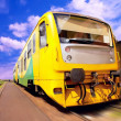 Yellow train on speed outdoor — Stockfoto