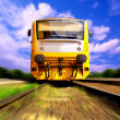 Yellow train on speed outdoor - Foto de Stock