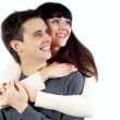 Close-up of happy couple isolated on the white — Stock Photo