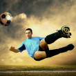 Shoot of football player on the outdoor field — 图库照片
