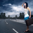 Young woman waiting on the road with her vintage baggage — Stock Photo #6371550