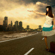 Young woman waiting on the road with her vintage baggage - Stock Photo
