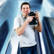 Happiness man with vintage photo camera — Stock Photo #6371639