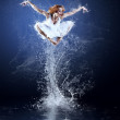 Dancers jump from water with splashes and drops — Stock Photo #6371649