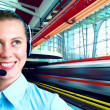 Businesswomen and train on speed in railway station — Stock Photo #6371711