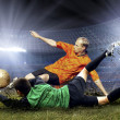Football player and jump of goalkeeper on field of stadium a — 图库照片 #6371873