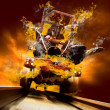 Demon on traine in fire flames oo the speed — Stock Photo