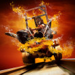 Demon on traine in fire flames oo the speed — Stock Photo #6371917
