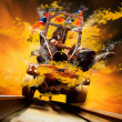 Demon on traine in fire flames oo the speed — Stock Photo #6371922