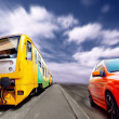 Train and sport car on speed — Stok fotoğraf
