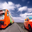 Train and sport car on speed - Stock Photo