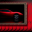 Beautiful red sport car in classic frame on red abstract backgro — 图库照片