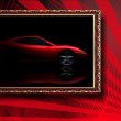 Beautiful red sport car in classic frame on red abstract backgro — Stockfoto