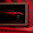 beautiful red sport car in classic frame on red abstract backgro — Stock Photo