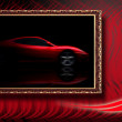 Beautiful red sport car in classic frame on red abstract backgro — Stock Photo #6372012