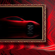 Stock Photo: Beautiful red sport car in classic frame on red abstract backgro