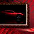 Beautiful red sport car in classic frame on red abstract backgro — ストック写真