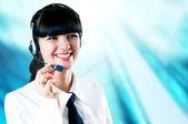 Imprenditrice di felicità in piedi sullo sfondo affari — Foto Stock