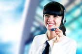 Hapiness Businesswoman standing on the business background — Foto Stock