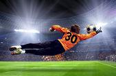 スタジアムのフィールドでサッカー goalman — ストック写真