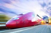 High-speed train with motion blur outdoor — Stock Photo