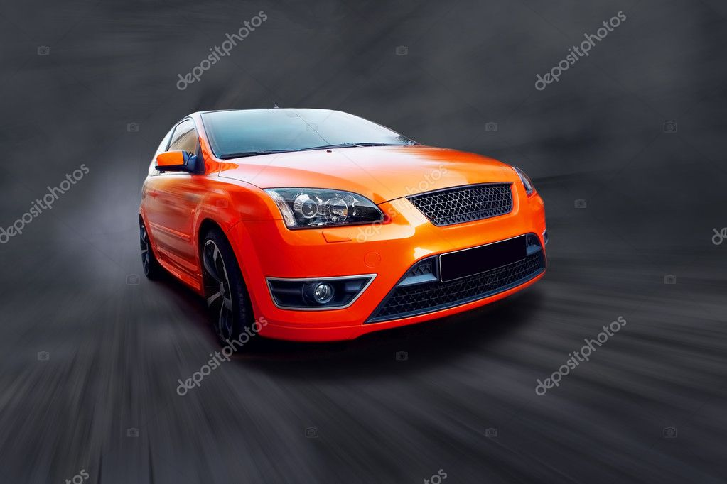 Beautiful orange sport car on black — Stock Photo #6370201