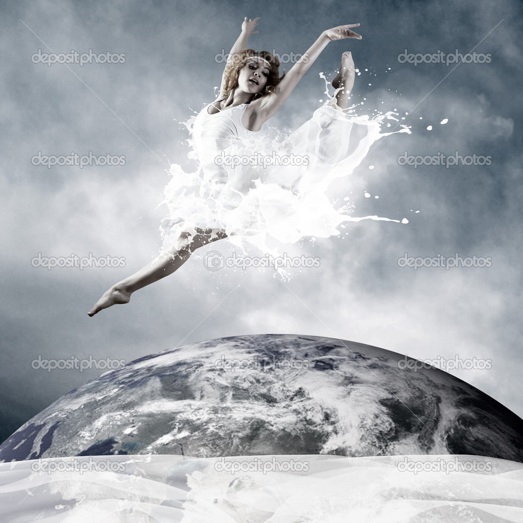 Jump of ballerina with dress of milk  Stock Photo #6371663