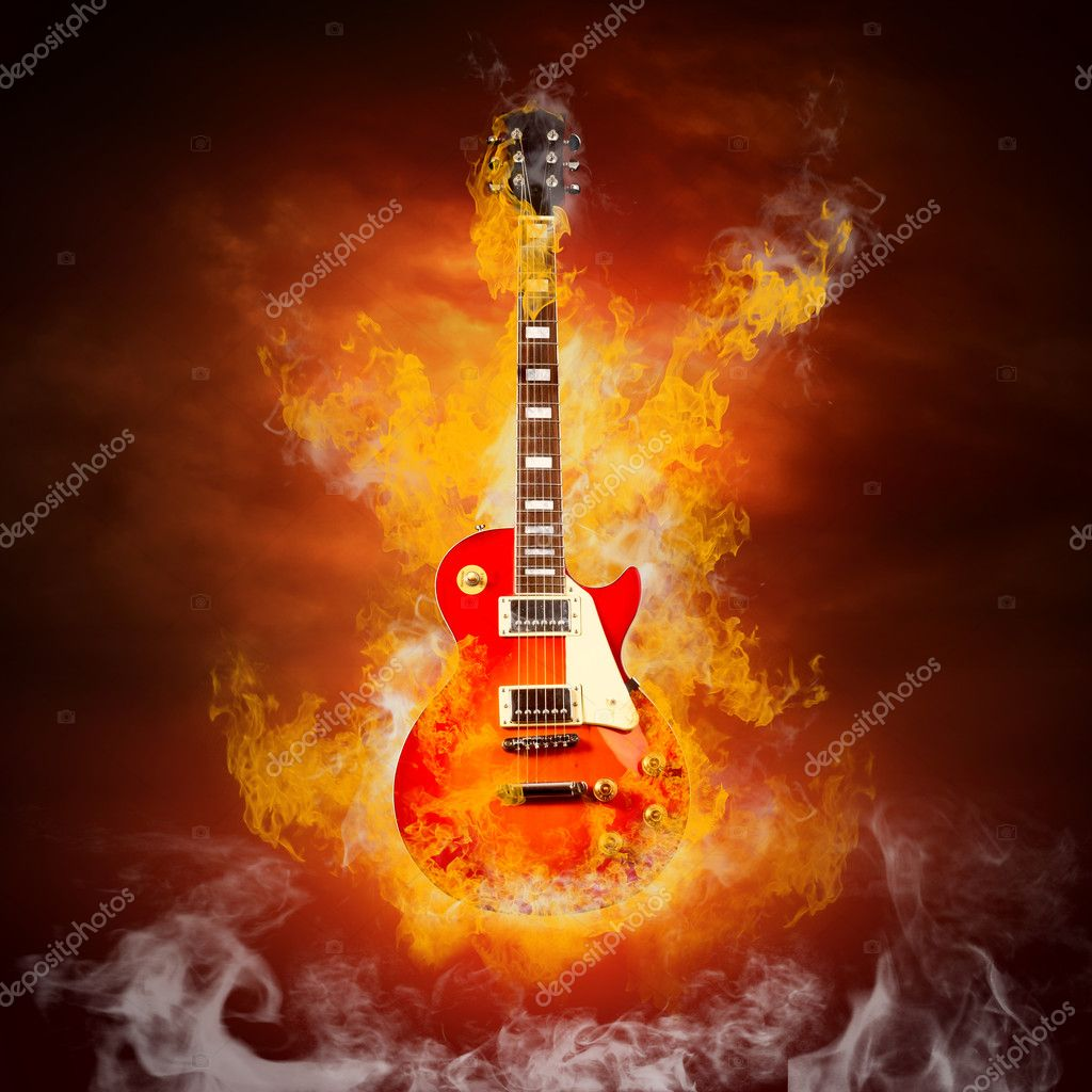 Rock guita in flames of fire — Stock Photo #6371805