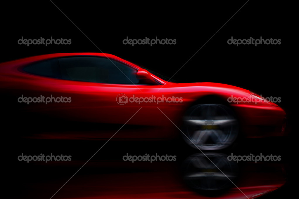 Beautiful red sport car on black — Stock Photo #6372008