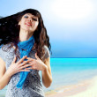 Young beatiful caucasian women with hair on the wind at sunny tr — Stock Photo #6429848