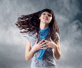 Young beatiful caucasian women with hair on the wind — Stock Photo