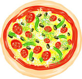 Delicious pizza — Stock Vector