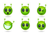 Alien face icons — Stock Vector
