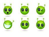 Alien face icons — Stock Vector