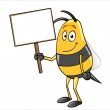 Bee holding a blank sign — Stock Vector