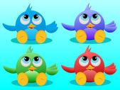 Four Cute Birds — Stock Vector
