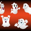 Five Spooky Ghosts — Stock Vector